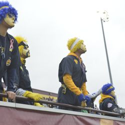 The Toledo Blue Crew looks on as Central Michigan drives down the field on offense.