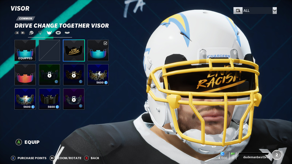 A customization screen in Madden NFL 21 shows a player with a tinted visor that says END RACISM.
