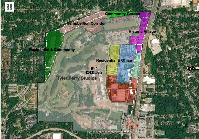 In a color-coded rendering, we see a breakdown of Tyler Perry's portion of the former U.S. Army base and what remains for redevelopment.