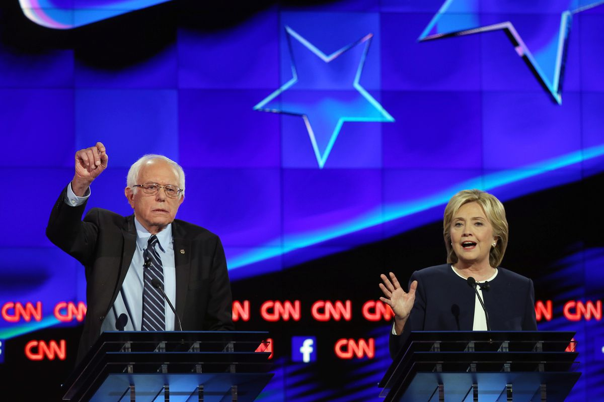 Sanders and Clinton during the debate Tuesday night.