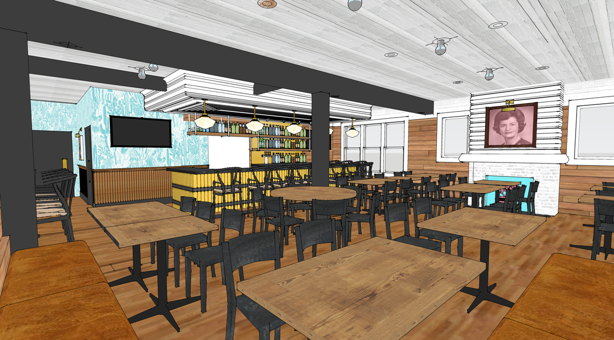 Rendering of Bar Peached's dining space
