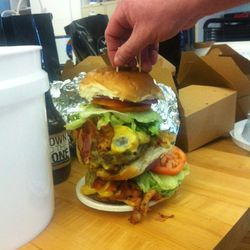 The very crazy Down 2 the Bone burger.  Literally came in a three-gallon bucket, wrapped in bubble wrap.  Weighs three pounds.