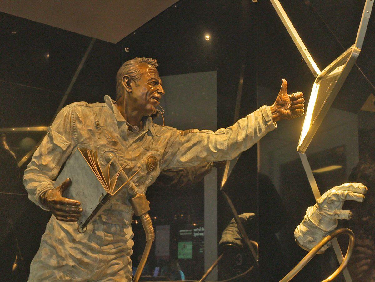 A sculpture of NASA astronaut Jim Lovell, depicted during the Apollo 13 mission he commanded, is part of the Mission Moon gallery at the Adler Planetarium.   Rahul Parikh/Sun-Times