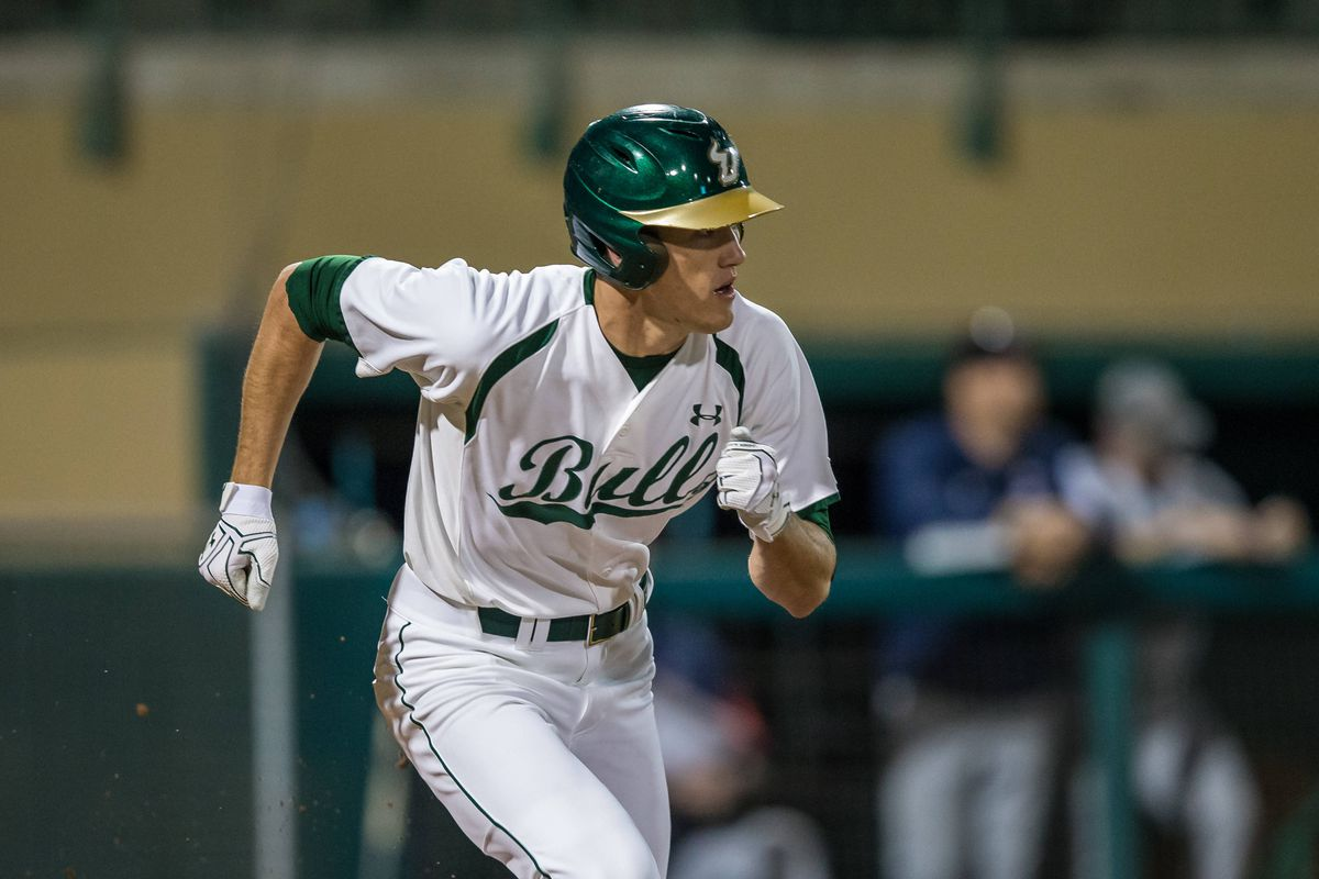 Luke Borders gets a hit vs. UCF on Sunday. The Bulls took two out of three vs. the Knights over the weekend.