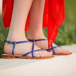 """<b>How long does it take to produce your sandals, from designing in LA to manufacturing in Italy?</b></br> """"From the moment of designing one style of sandals in LA to my production in Italy rendering a sample of it, and then having that sample shipped to"""