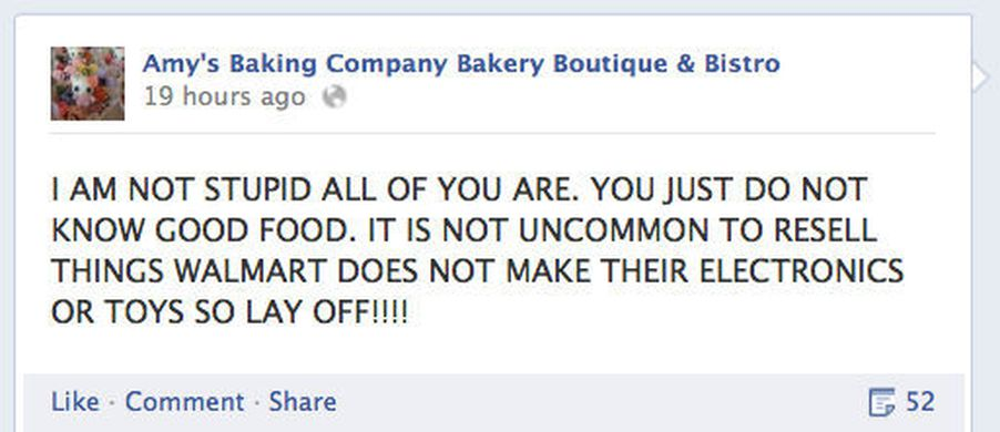 Kitchen nightmares restaurant freaks out on facebook eater for Kitchen nightmares fake