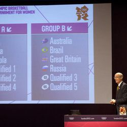 FIBA's Sport Director Lubomir Kotleba shows the fixture for the London 2012 Olympic women's basketball tournament after the draw in Rio de Janeiro, Brazil, Monday, April 30, 2012. Basketball at the London 2012 Olympic Games will be held from July 28 to Aug. 12.