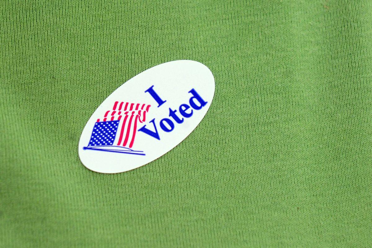 "An ""I Voted"" sticker in North Carolina."