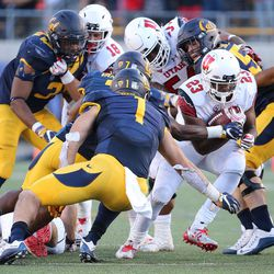 Utah Utes running back Armand Shyne (23) runs with the ball during the second half of a football game against the California Golden Bears at the California Memorial Stadium in Berkeley, Calif., on Saturday, Oct. 1, 2016. Utah lost 23-28.