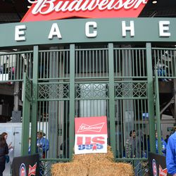 3:05 p.m. Decorations at the main bleacher gate for the country music theme at Friday's game -