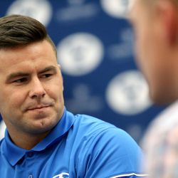 Quarterback Tanner Mangum at BYU Football Media Day at BYU Broadcasting in Provo on Friday, June 23, 2017.
