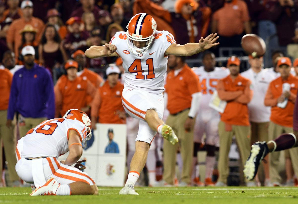 BLACKSBURG, VA - SEPTEMBER 30:  Alex Spence #41 of the Clemson Tigers kicks a field goal during the first quarter against the Virginia Tech Hokies at Lane Stadium on September 30, 2017 in Blacksburg, Virginia.  (Photo by Michael Shroyer/Getty Images)