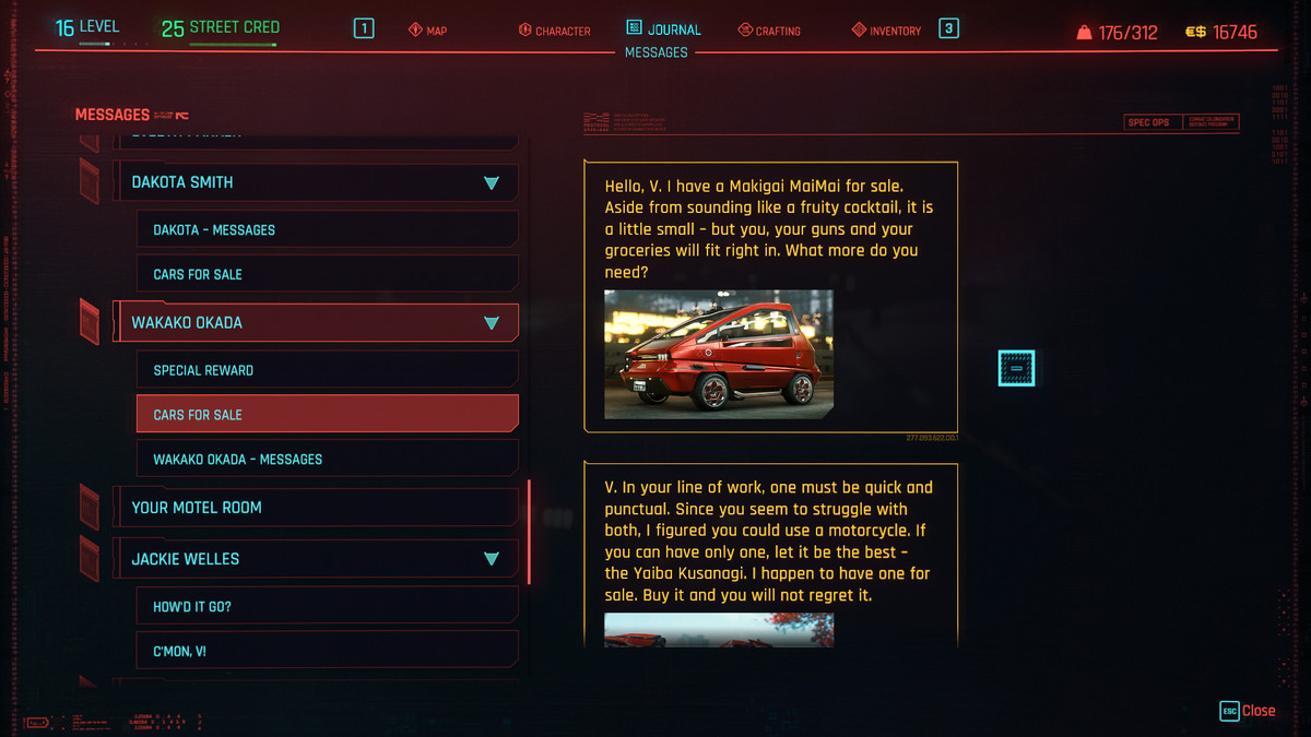 Text messages about cars in Cyberpunk 2077
