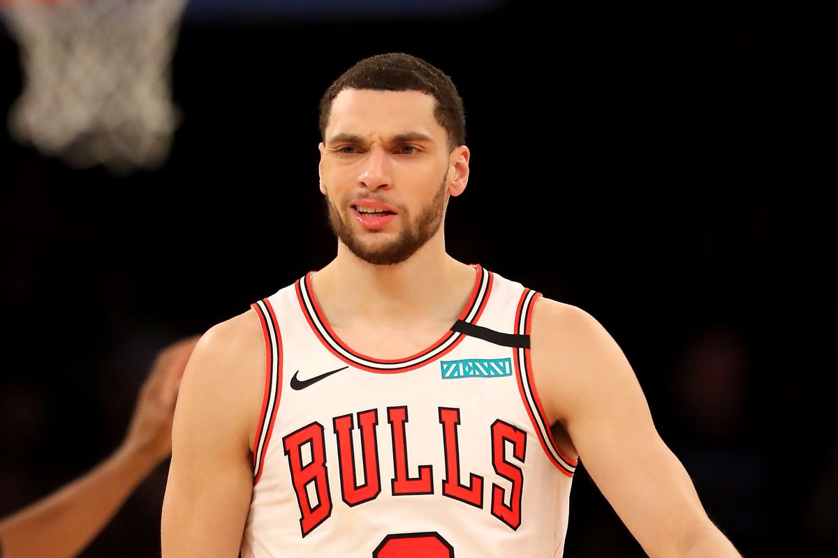 Zach LaVine of the Chicago Bulls reacts to being called for a personal and technical foul in the second half against the New York Knicks at Madison Square Garden on February 29, 2020 in New York City. The New York Knicks defeated the Chicago Bulls 125-115.
