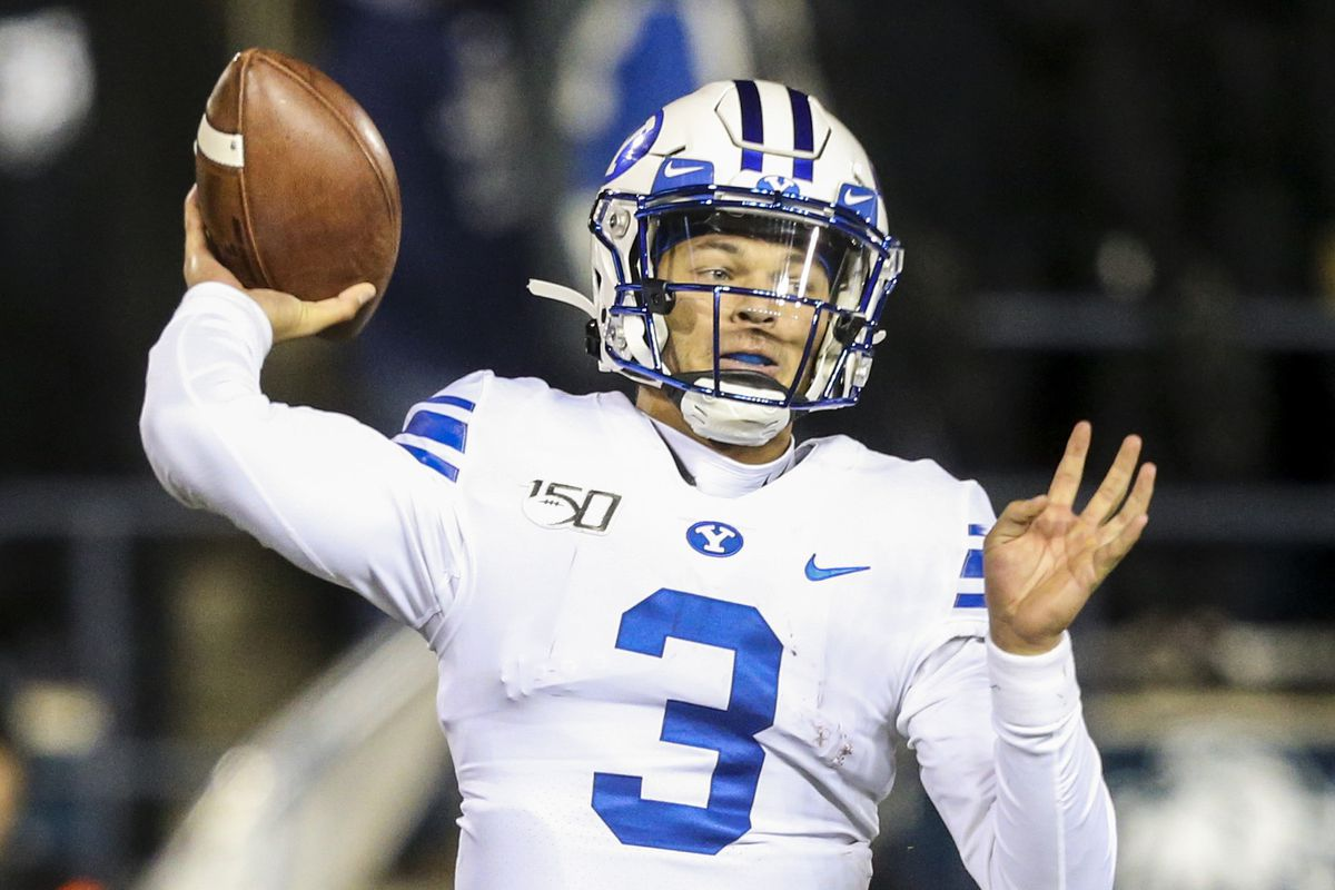 Brigham Young Cougars quarterback Jaren Hall (3) makes a throw during the first half of an NCAA football game at Maverik Stadium in Logan on Saturday, Nov. 2, 2019.