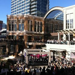 Shoppers attend City Creek ribbon cutting during the mall's grand opening Thursday,  March 22, 2012.
