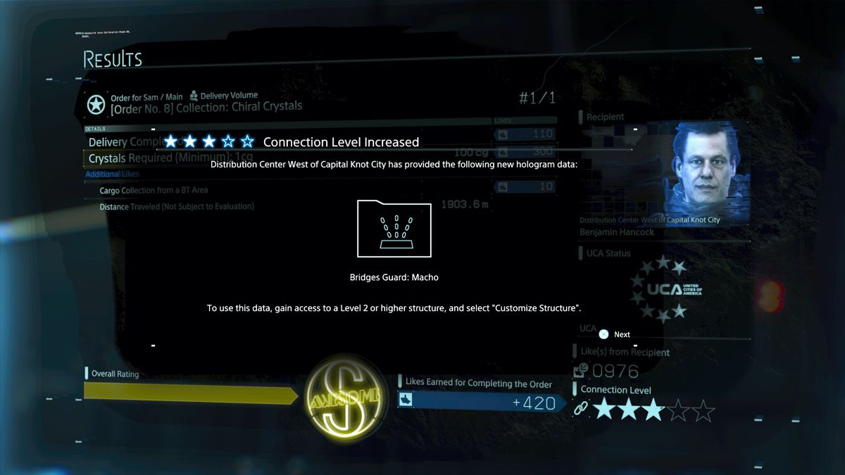 Death Stranding connection level increased Distribution Center West of Capital Knot City