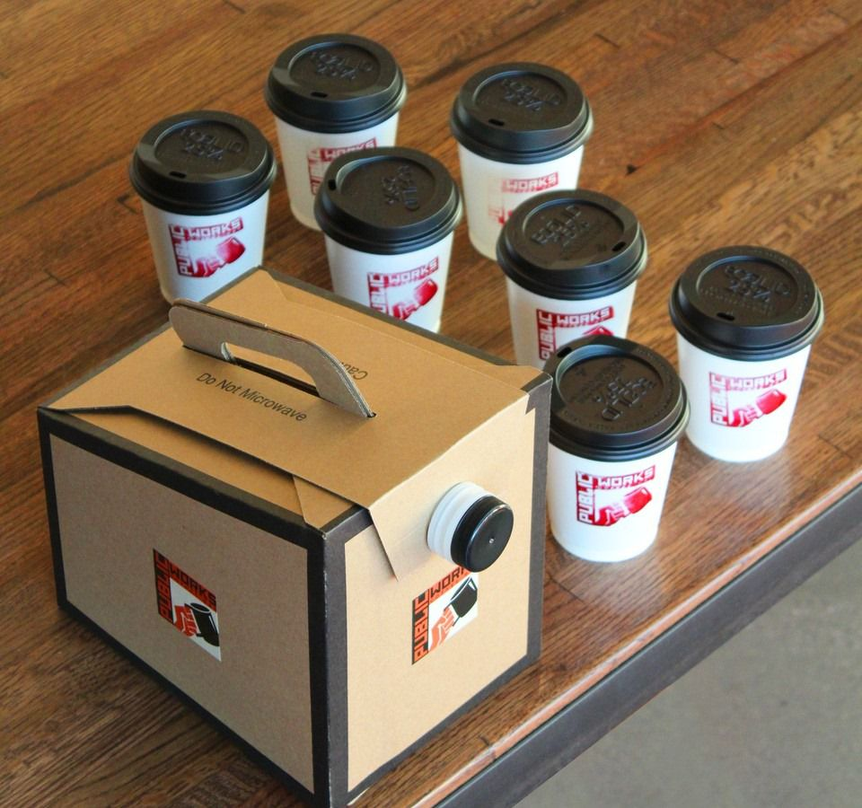 Takeout and delivery containers prepared by  the Public Works Coffee Bar.