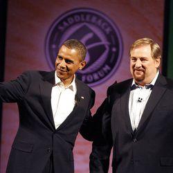 Barack Obama, left, joins Pastor Rick Warren of Saddleback Church during Obama's presidential campaign in 2008.