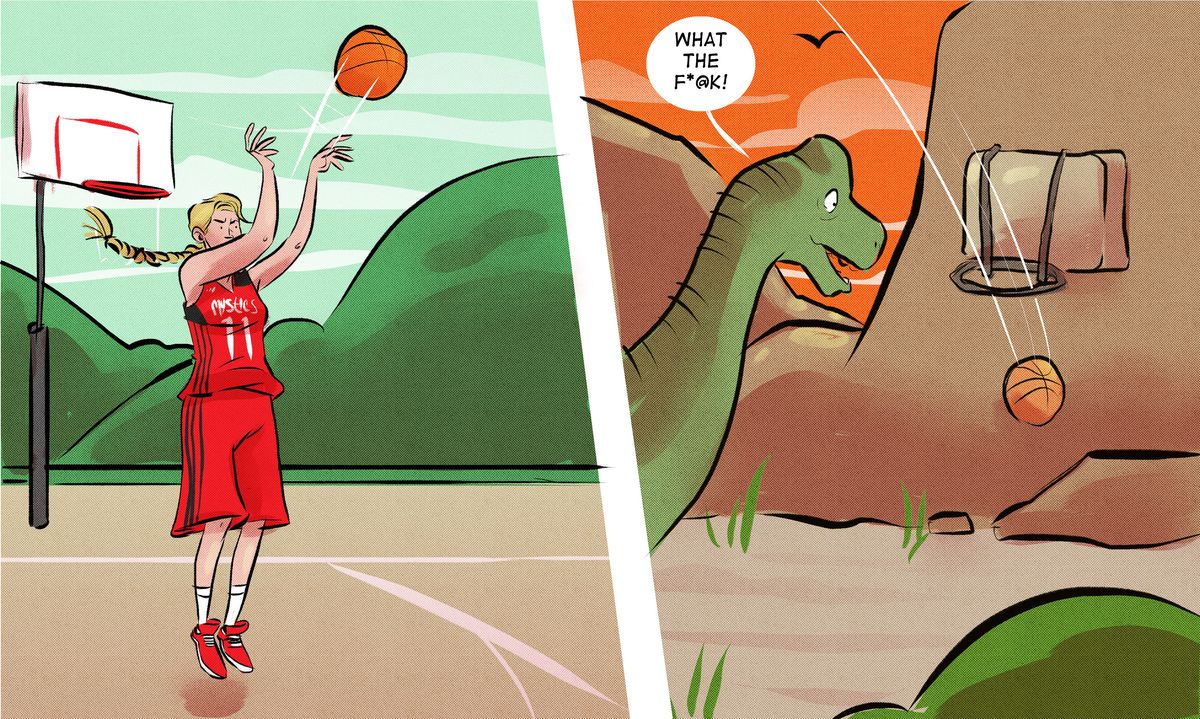 """Illustration of Elena Delle Donne shooting the ball. In the next frame, a dinosaur sees the ball going through a prehistoric hoop and says, """"What the f*@k!"""""""