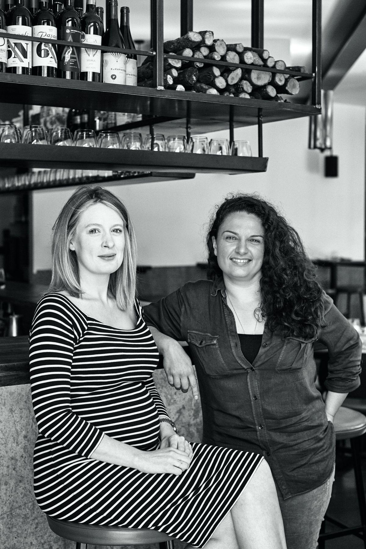 Oklava's Laura Christie and Selin Kiazim sit side by side in their modern Turkish restaurant