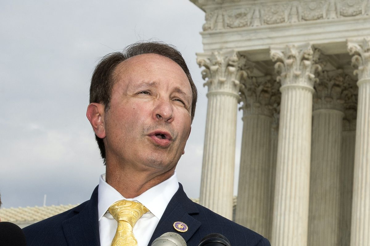 In this Sept. 9, 2019, file photo, Louisiana Attorney General Jeff Landry speaks in front of the U.S. Supreme Court in Washington. The Biden administration's suspension of new oil and gas leases on federal land and water was blocked Tuesday, June 15, 2021, by a federal judge in Louisiana.