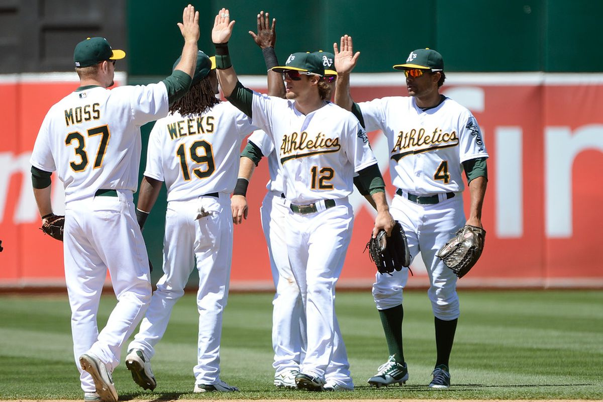 OAKLAND, CA - JUNE 07:  Brandon Moss #37, Jemile Weeks #19, Collin Cowgill #12, and Coco Crisp #4 celebrate defeating the Texas Rangers 7 to 1 at O.co Coliseum on June 7, 2012 in Oakland, California.  (Photo by Thearon W. Henderson/Getty Images)