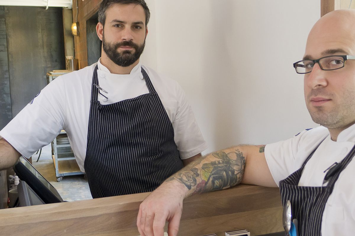 Terrence Gallivan and Seth Siegel-Gardner at the hostess stand of The Pass and Provisions