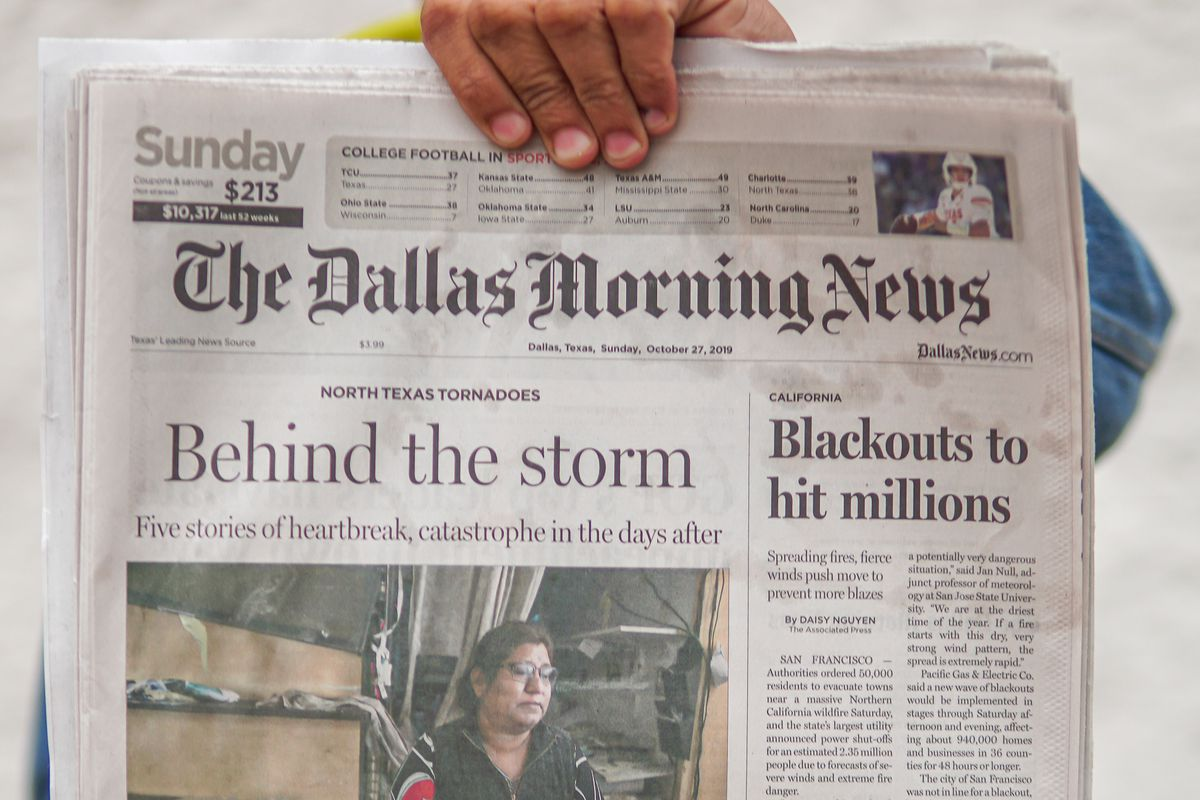 Dallas Morning News front page