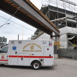 Ambulance 6 parked outside the firehouse -