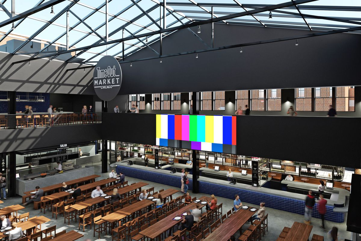 A rendering of a food hall.
