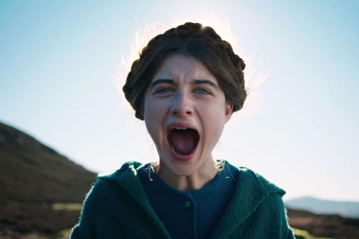 A girl screaming.