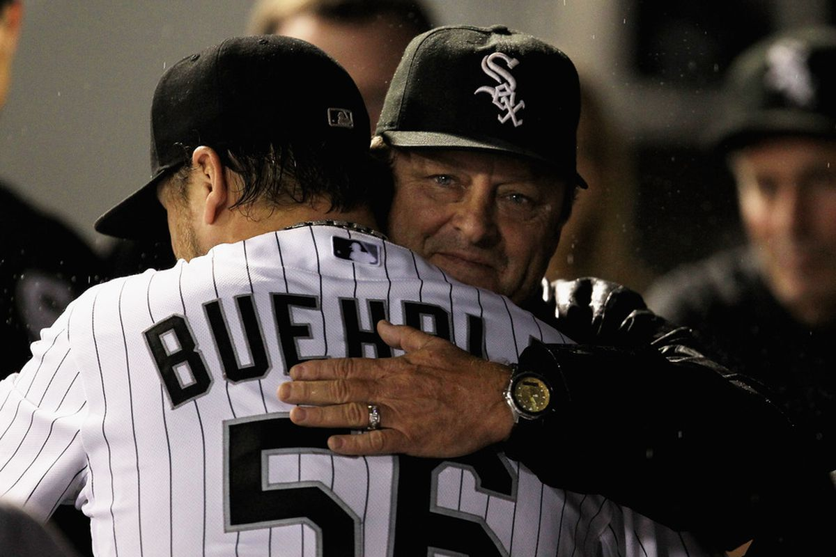 Don Cooper congratulates Mark Buehrle on a job well done in his final start, and over the last four years.
