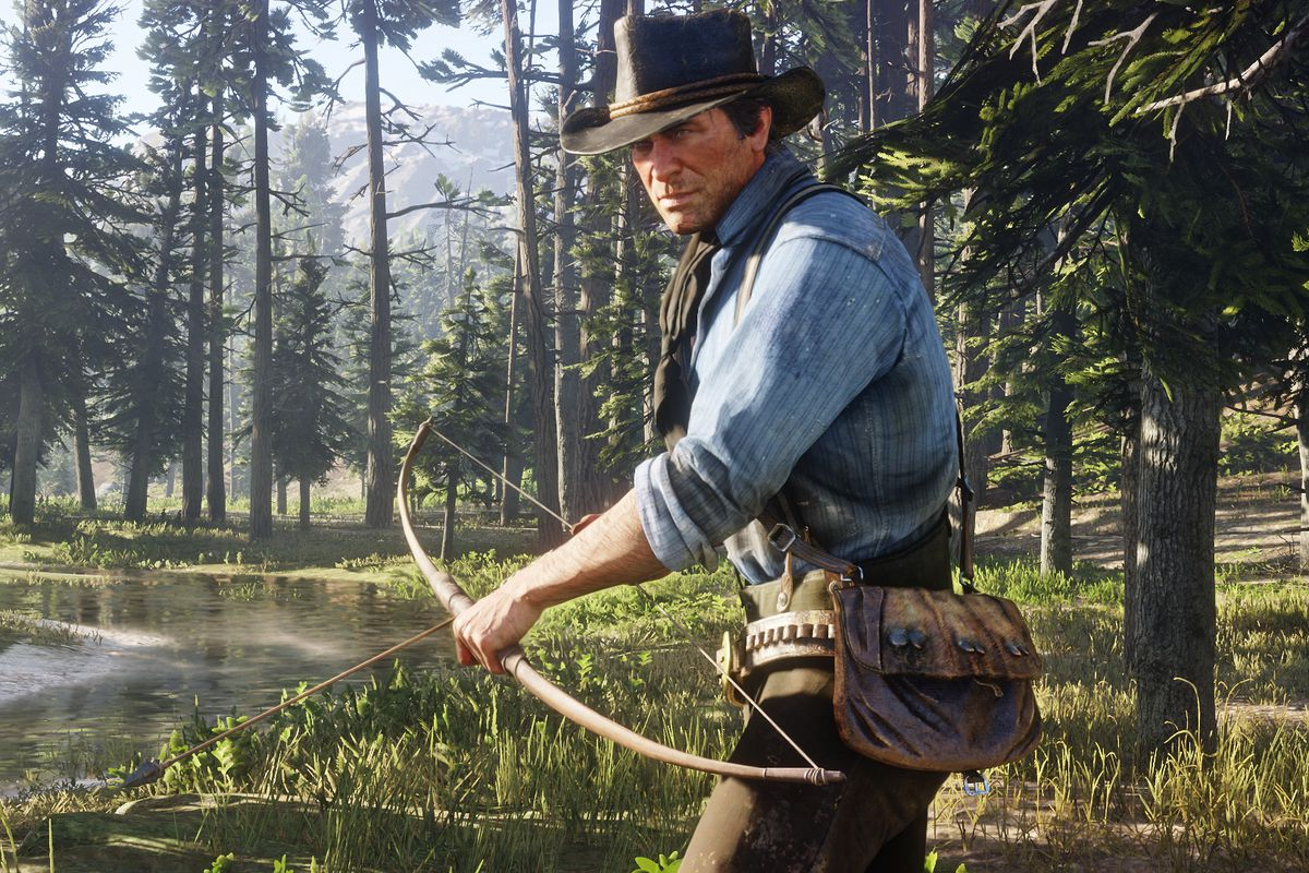 Red Dead Redemption 2 - Arthur Morgan nocking an arrow on his bow
