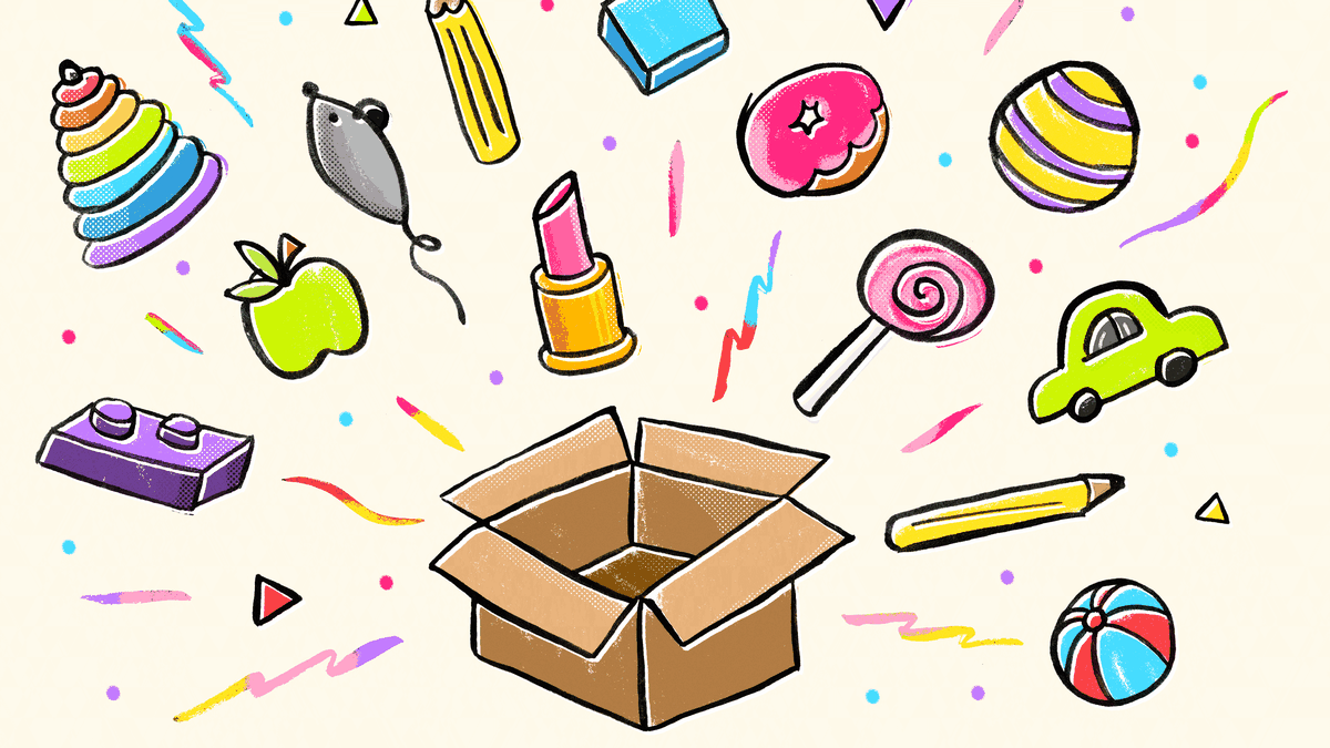 Various objects, including a pencil, ball, and lipstick, burst out of an open box.