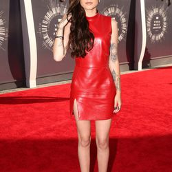Cher Lloyd in red leather is maybe also a tribute to Britney Spears.