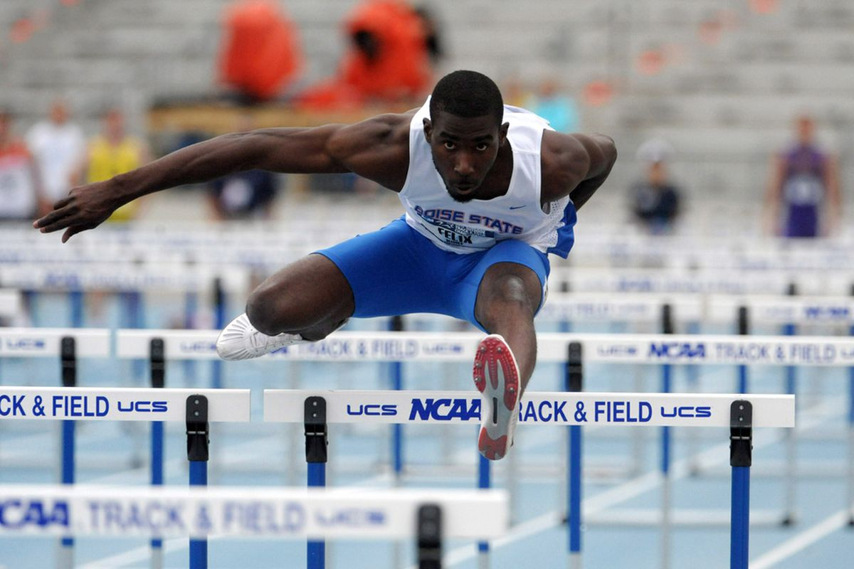 Jun 7, 2012; Des Moines, IA, USA; Kurt Felix of Boise State runs 15.01 in the decathlon 110m hurdles for 848 points in the 2012 NCAA Track & Field Championships at Drake Stadium. Mandatory Credit: Kirby Lee/Image of Sport-US PRESSWIRE