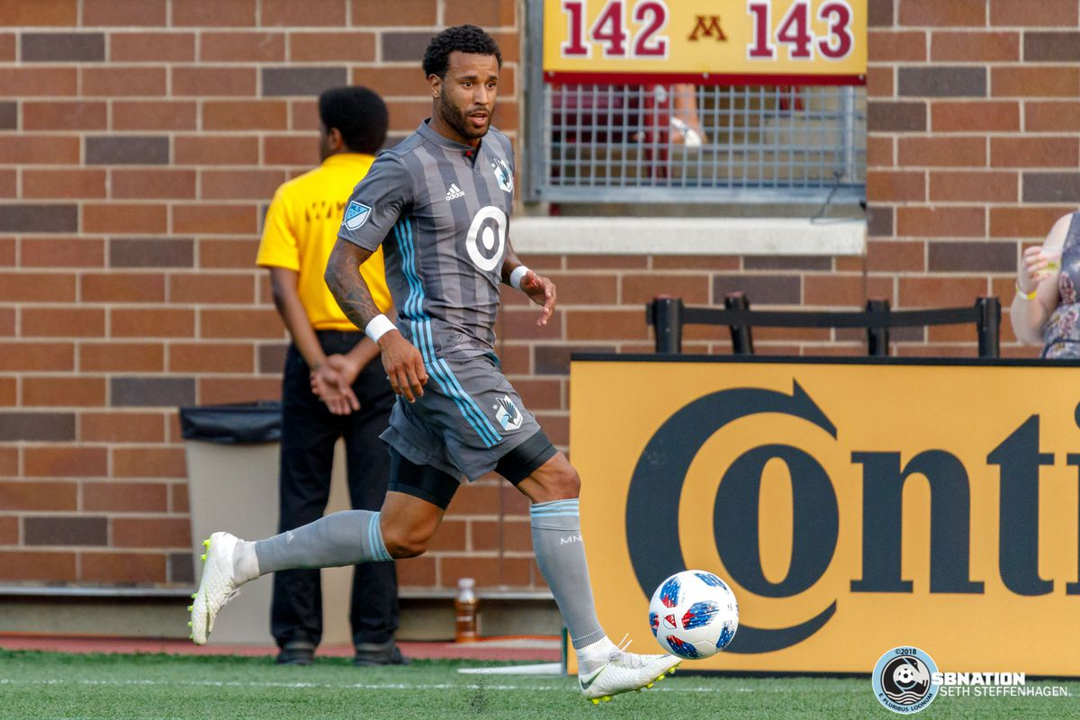 June 29, 2018 - Minneapolis, Minnesota, United States - Minnesota United defender Tyrone Mears (4) dribbles the ball during the match against FC Dallas at TCF Bank Stadium.
