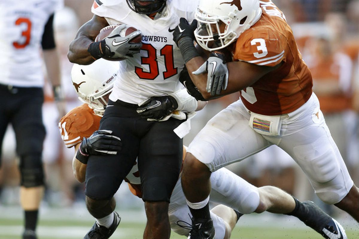 To believe senior safety Kenny Vaccaro (and you should, seriously), junior linebacker Jordan Hicks was the most athletic linebacker for the 2011 Longhorns. (Photo by Erich Schlegel/Getty Images)