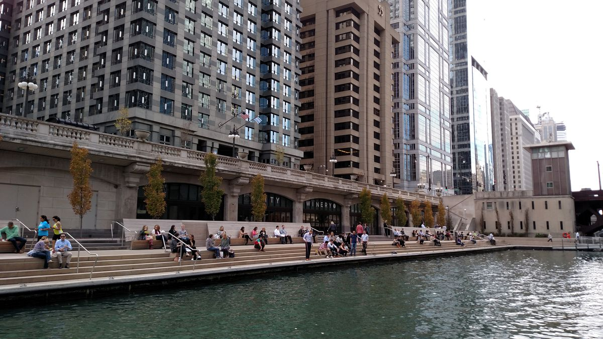 Even with the Chicago lakefront and Riverwalk (shown here is a file photo of a lunch scene with anglers) being closed during the pandemic, there's evidence of an uptick of angling in Illinois. Credit: Dale Bowman