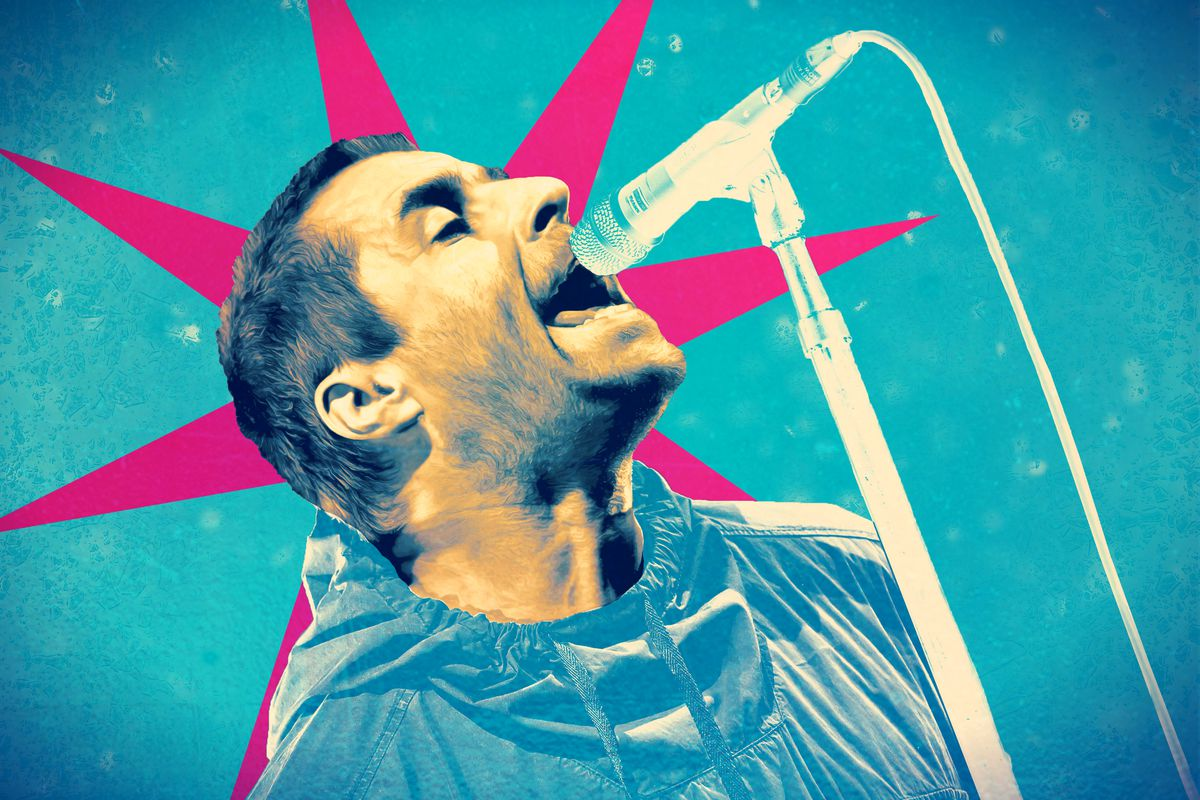 Liam Gallagher singing into a mic