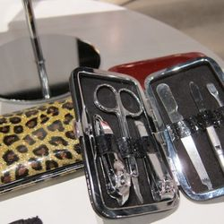 Yes, that is a sparkly-crystal leopard-print nail kit.
