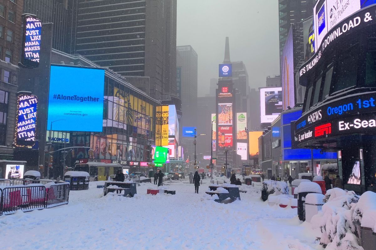 Times Square was quieter than usual while the city was blanketed with snow, Feb. 1, 2021.