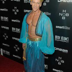 Fitness guru David Kirsch and his pecs, in genie costume