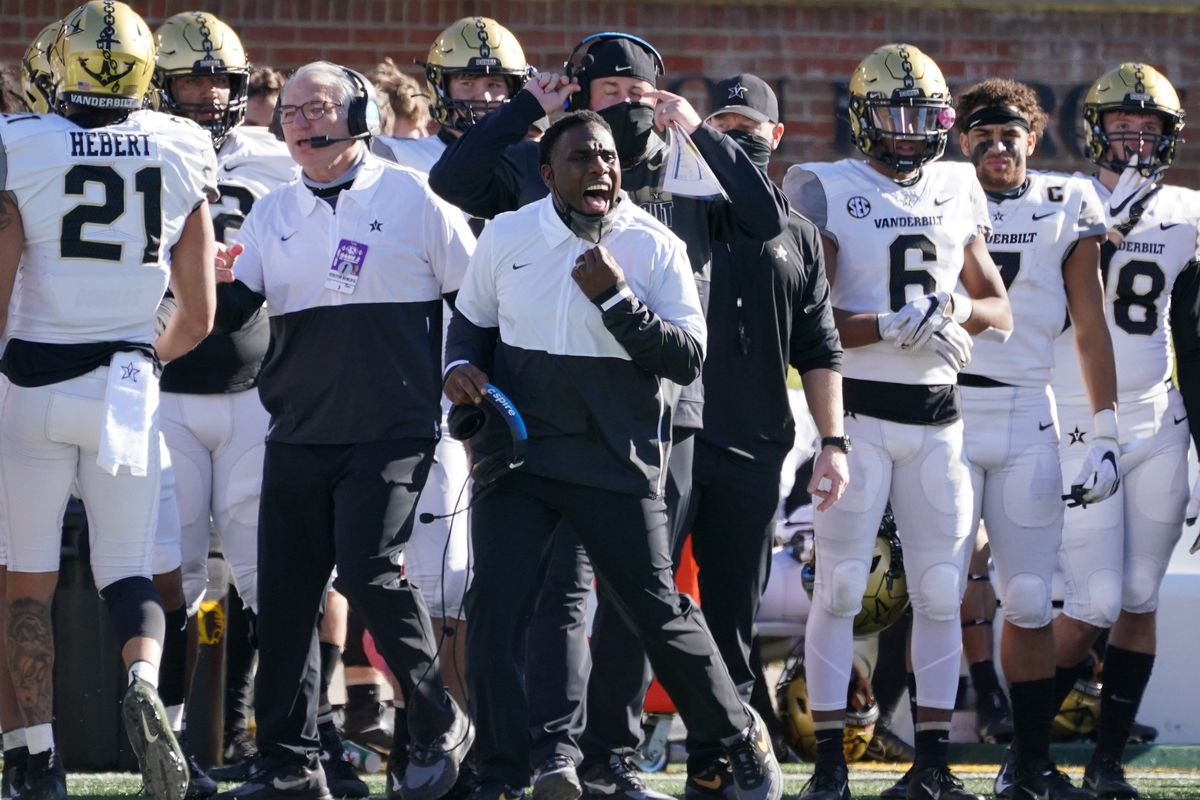 Vanderbilt Commodores head coach Derek Mason reacts on the sidelines during the second half against the Missouri Tigers at Faurot Field at Memorial Stadium.