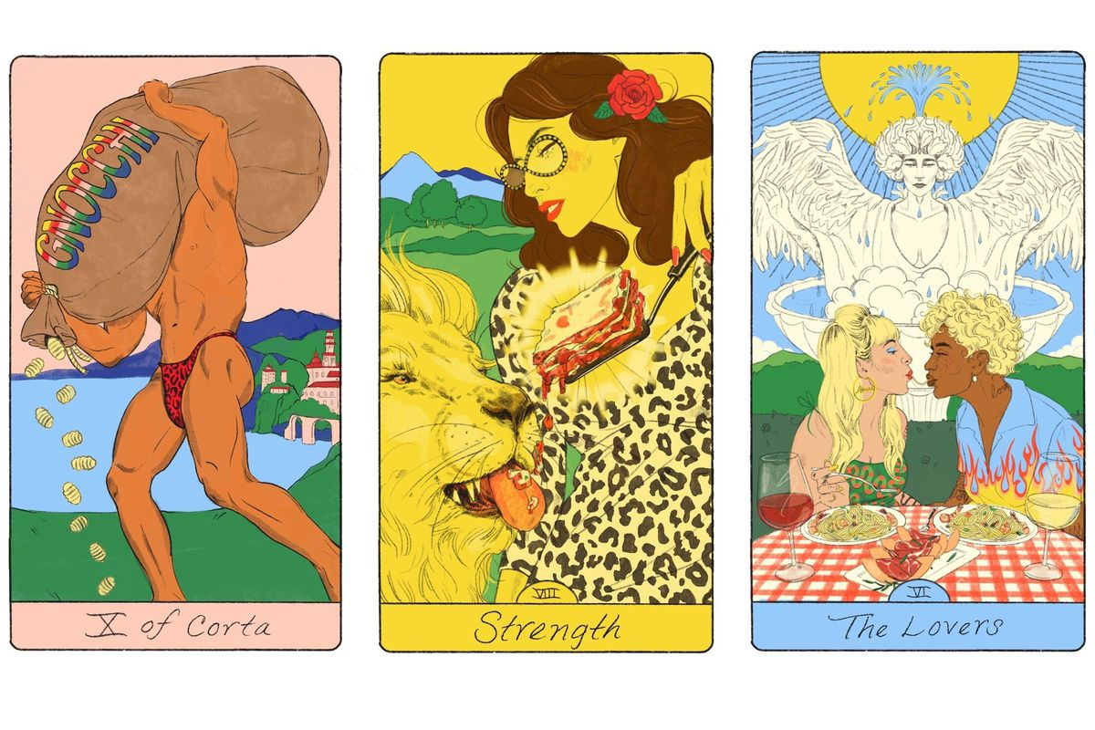 Three tarot cards. On the left, X of Corta, represented by a buff man carrying a leaking sack of gnocchi. In the middle, Strength, represented by a woman feeding a slice of lasagna to a lion. On the right, The Lovers, with two feminine people sharing a plate of lasagna in front of a fountain