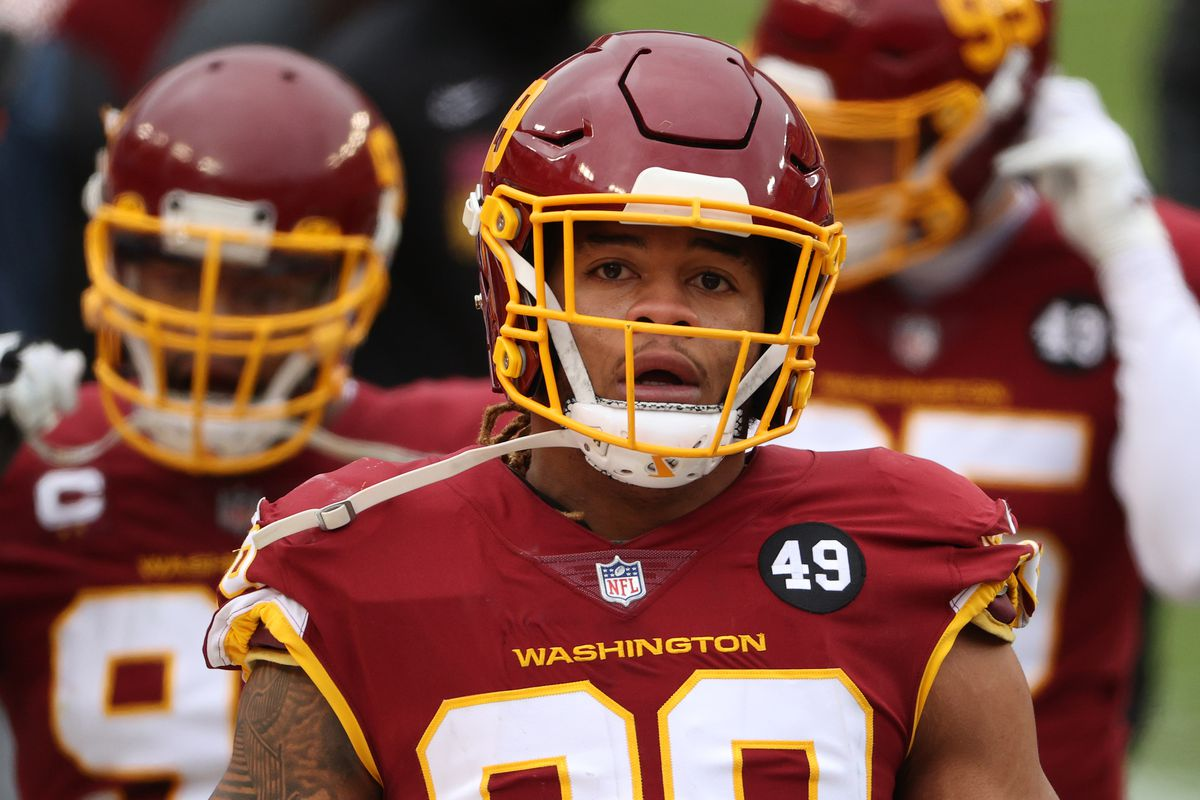 Defensive end Chase Young #99 of the Washington Football Team looks on against the Seattle Seahawks at FedExField on December 20, 2020 in Landover, Maryland.