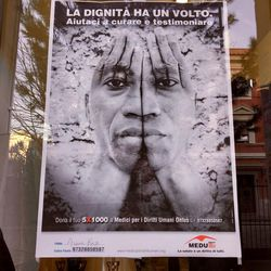 A MEDU (Doctors for Human Rights) poster outside the medical organization's psychological clinic is about the emotional health needs of refugees.