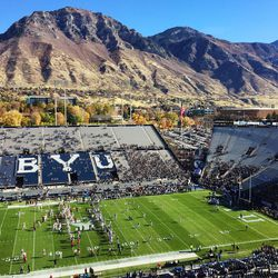 Brigham Young Cougars fans watch pregame warm ups prior to the Southern Utah Thunderbirds game in Provo on Saturday, Nov. 12, 2016.