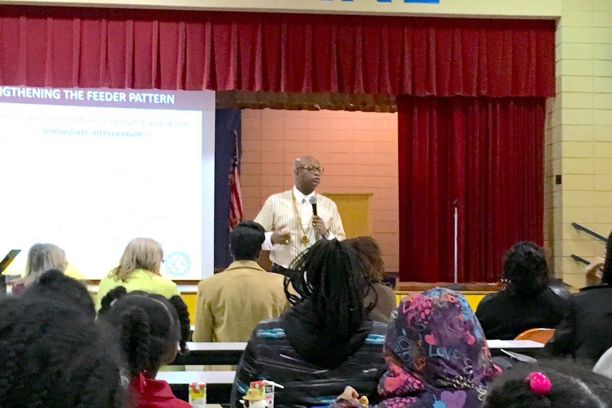 Vincent Hunter, principal of Whitehaven High School and leader of the Empowerment Zone, addressed Manor Lake Elementary parents in March 2018 about upcoming changes.